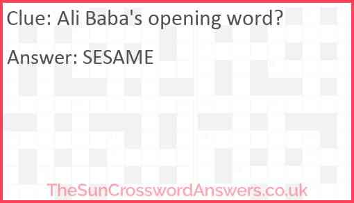 Ali Baba's opening word? Answer