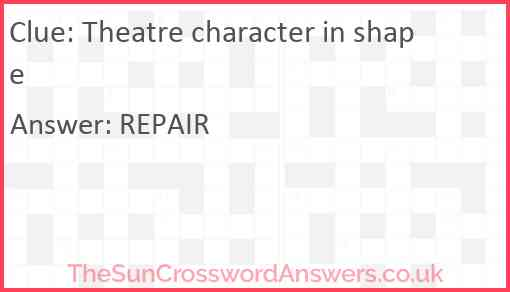 Theatre character in shape Answer