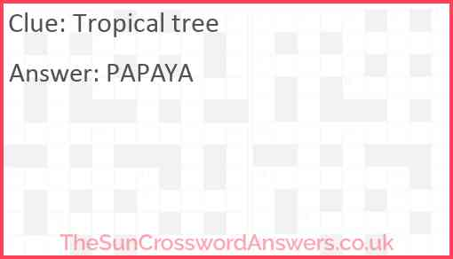 Tropical tree Answer